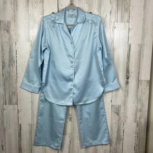 Vintage sating pajama set button top & pant M